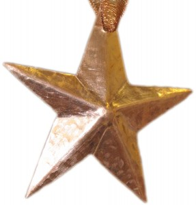 hand hammered copper star ornament