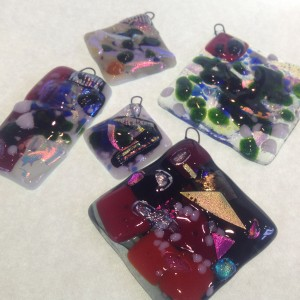 Fused glass ornaments taught by Susan Hope.