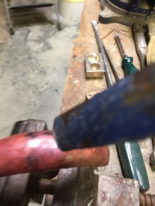hammering copper fender for art doll sized motorcycle