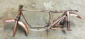 copper cycle frame with fenders and springs