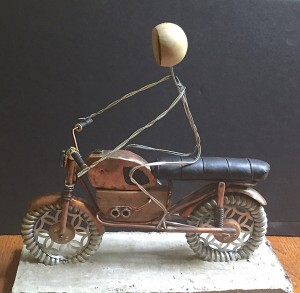 wire frame of driver on cycle