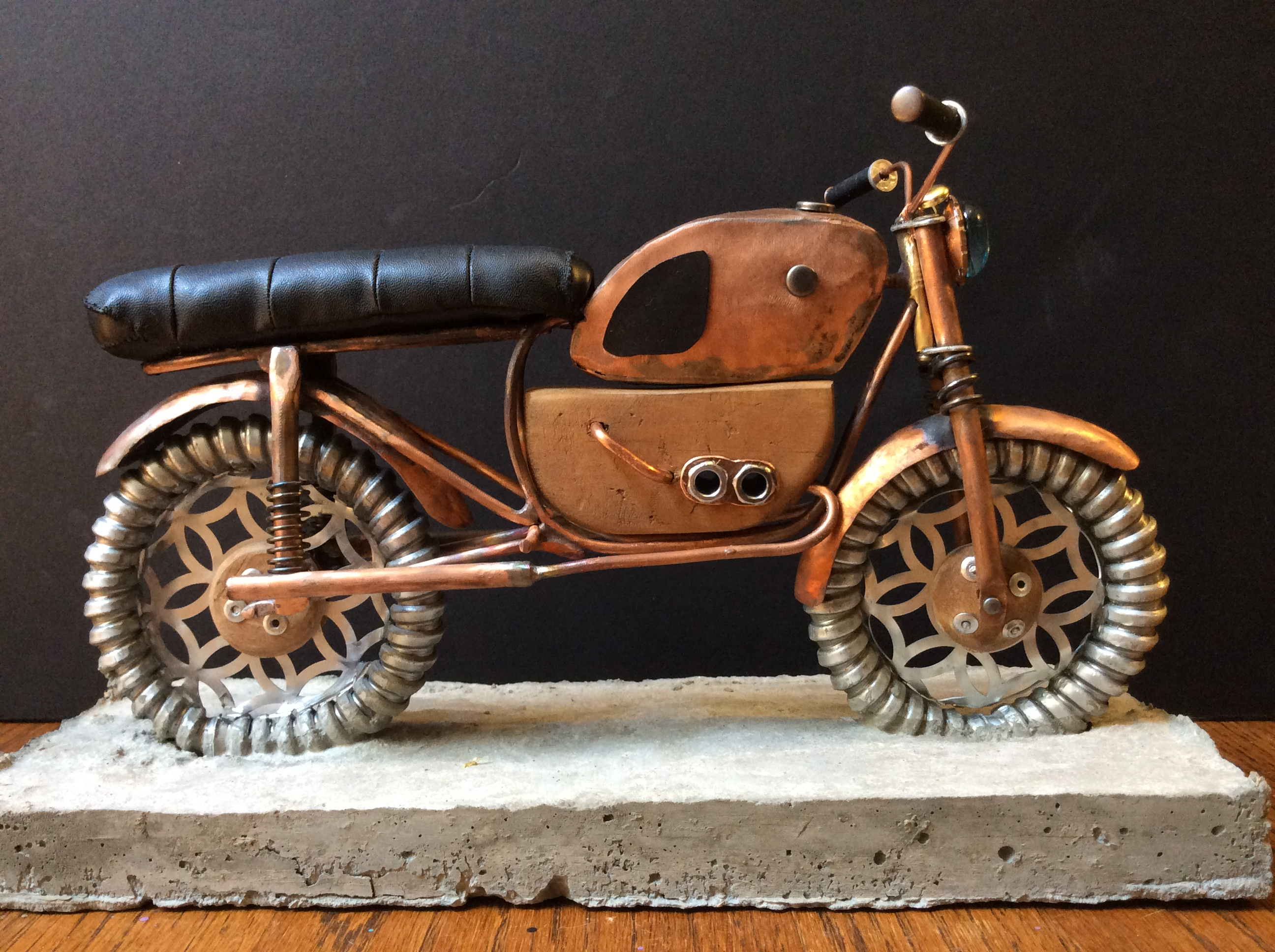 steampunk mixed media motorcycle sculpture ready for art doll riders