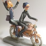 completed commission sculpture of art dolls on motorcycle