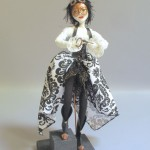 steampunk art doll titled The Key with custom stand