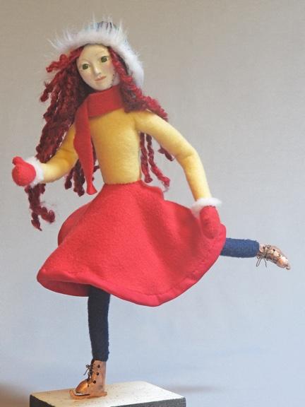 Image of iceskating art doll figure sculpture, Glide
