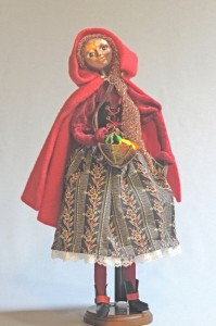"Standing mixed media ""Red Riding Hood"" art doll figure, Red"