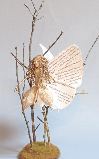 Art doll Delicate Landing mixed media figure sculpture