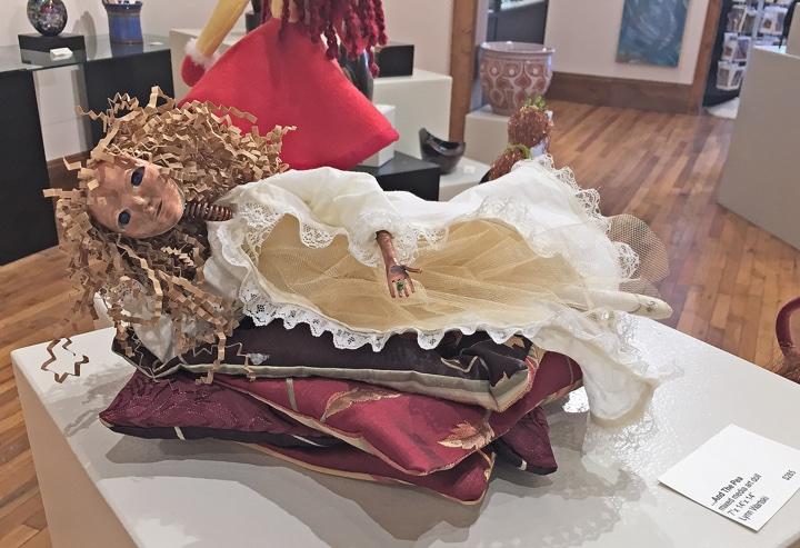 """art doll """"...And the Pea"""" by Lynn Wartski on display at HGA"""