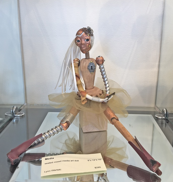"art doll ""Media"" by Lynn Wartski on display at HGA"