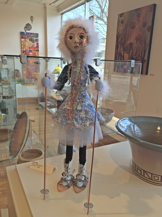 "art doll ""Snow Day"" by Lynn Wartski on display at HGA"