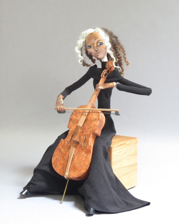 "art doll mixed media figure sculpture titled ""Cello"" by Lynn Wartski."