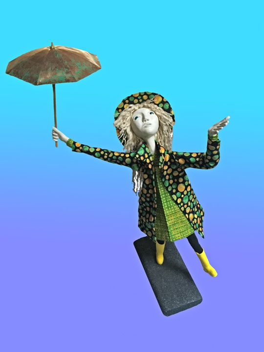 "Art doll, ""Sunshine on a Rainy Day"""
