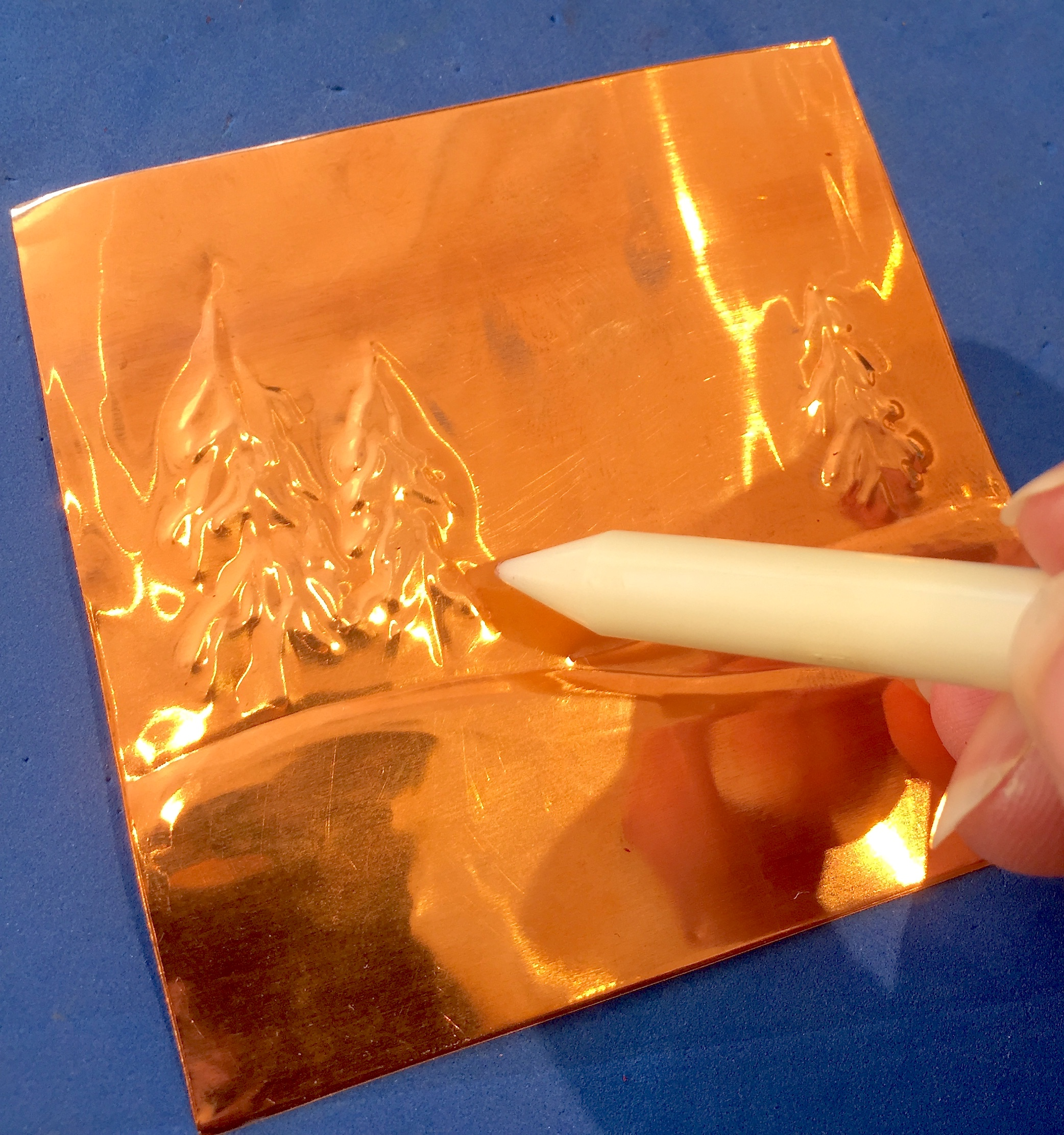 ornament card copper panel work-in-progress