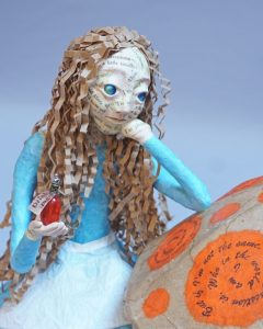 Detail of Questioning Alice art doll
