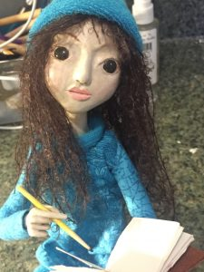 """Blank Pages"" seated art doll"