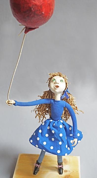 Balloon Too - art doll figure sculpture with balloon