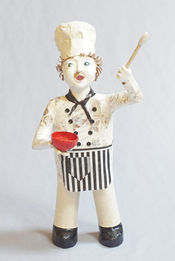 Chef Sings - singing chef art doll figure sculpture