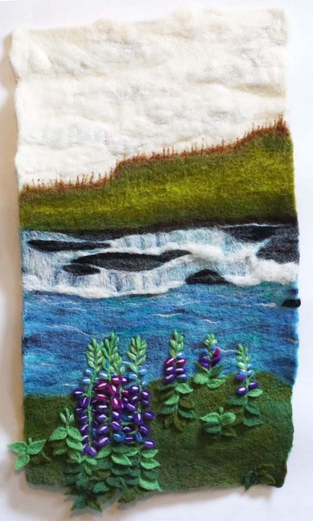 "Needle felted wall hanging ""Travel Photo #1"" for Other Dimensions"