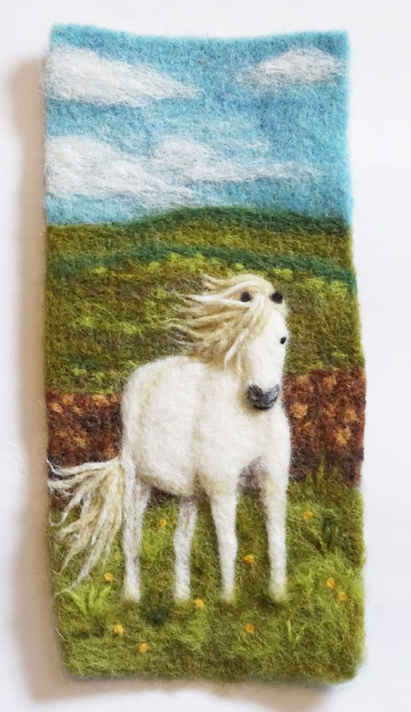 "Needle felted wall hanging ""Travel Photo #2"" for Other Dimensions"