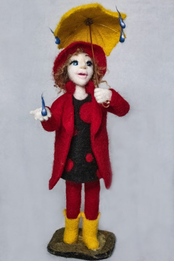 Rain or Shine needle felted art doll by Lynn Wartski