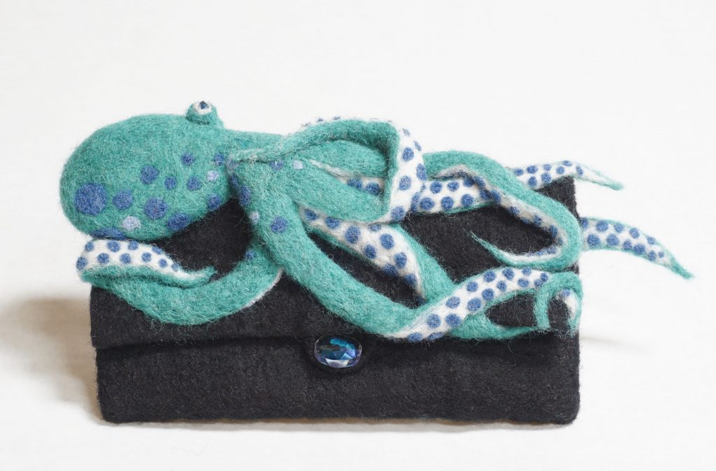"""Clutched"" clutch bag with needle felted octopus is something different"