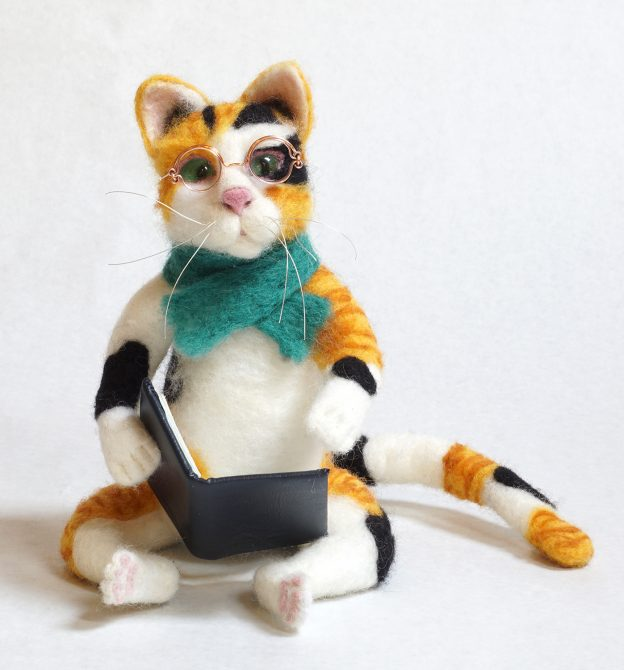 Literary Cat anthropomorphic art doll