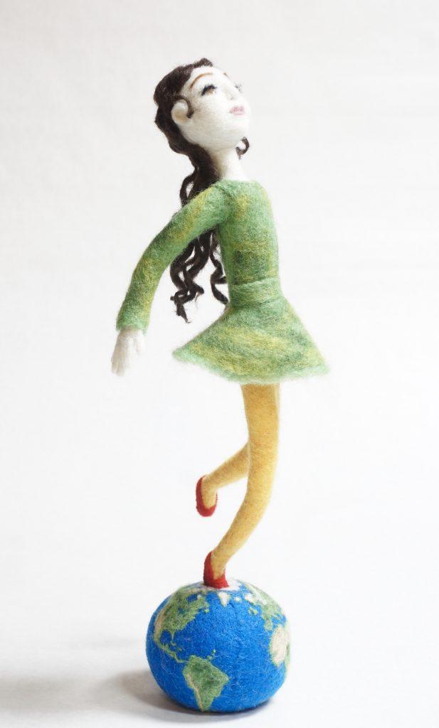 World at your feet art doll sculpture