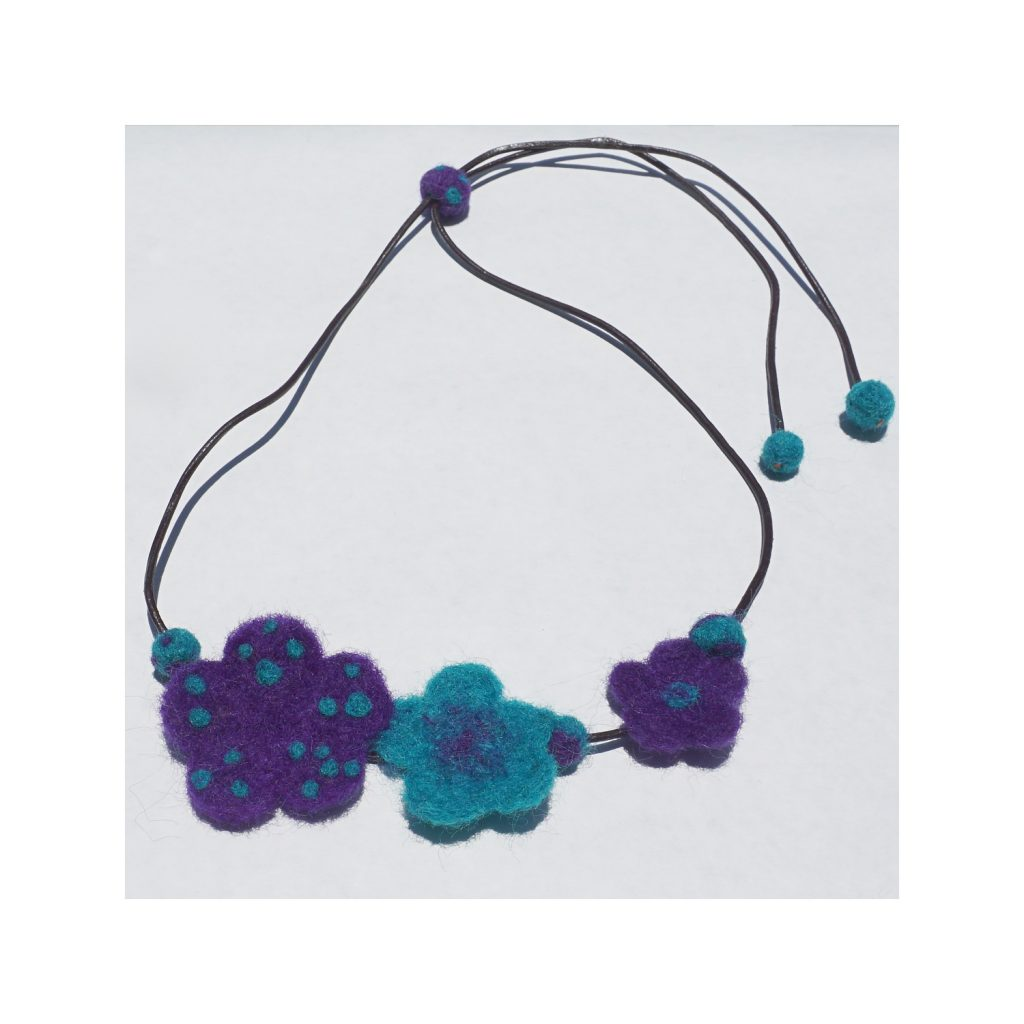 Flower Necklace -purple and turquoise needle felted flowers on leather chord