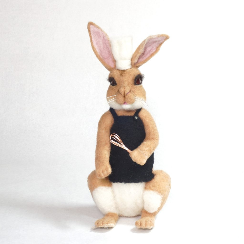 Hands Off The Carrot Cake - anthropomorphic needle-felted rabbit chief sculpture