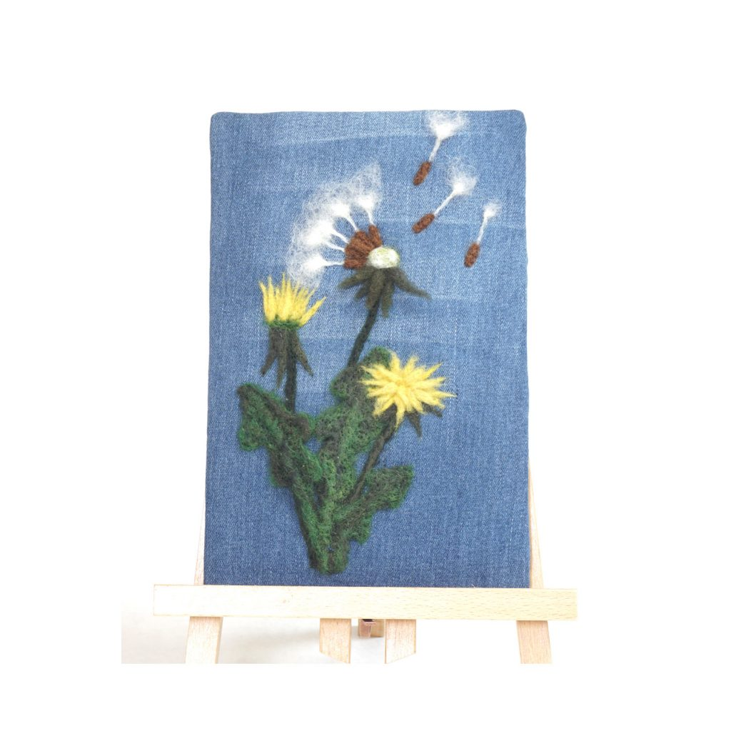 Wish on a Breeze needle felted relief on up cycled denim