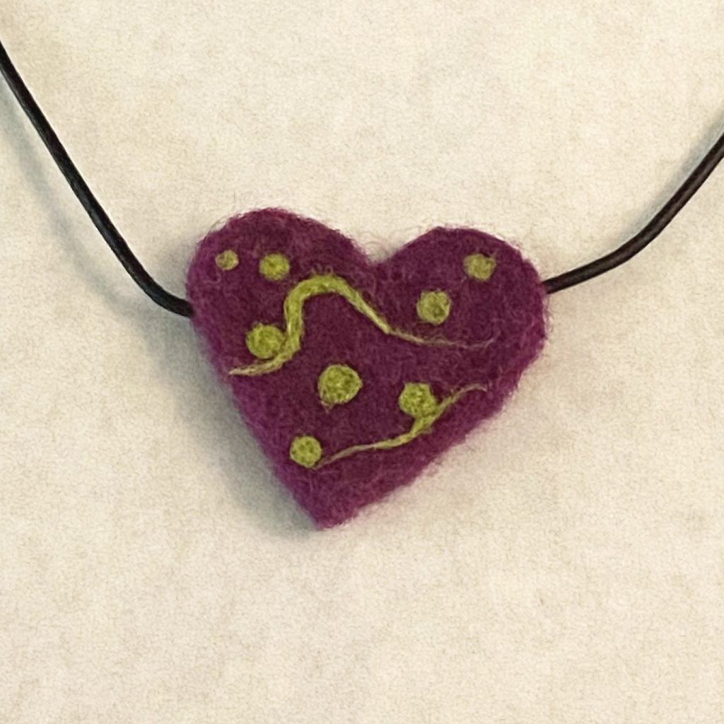 Squiggle Heart needle felted wool on leather chord necklace