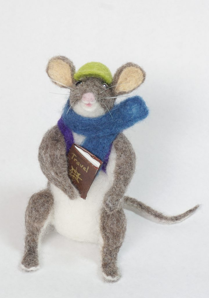 Adventure Begins anthropomorphic needle felted mouse art dol