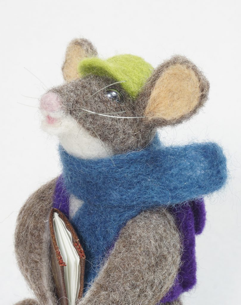 Adventure Begins anthropomorphic mouse needle felted art doll - scarf
