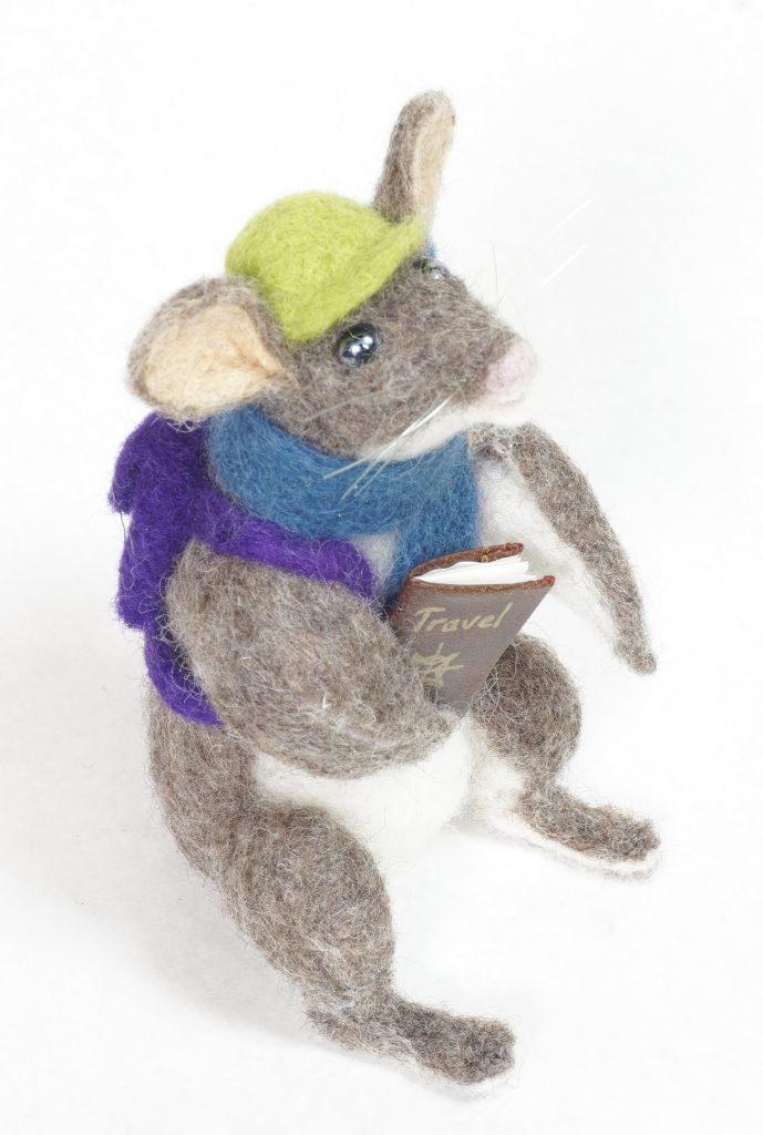 Adventure Begins anthropomorphic mouse needle felted art doll