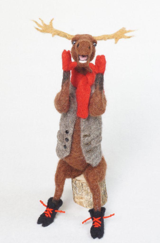Moose Call anthropomorphic moose art doll figure sculpture