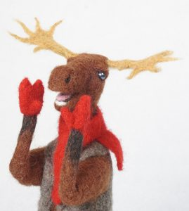 face of Moose Call, anthropomorphic moose art doll sculpture
