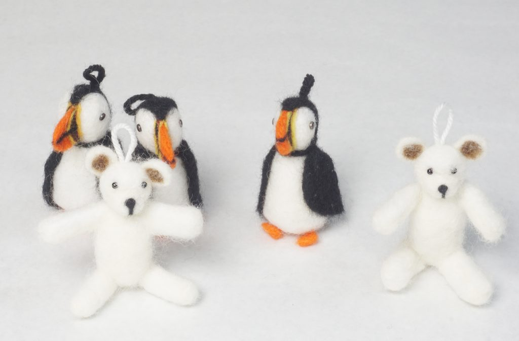 puffin and bear ornaments