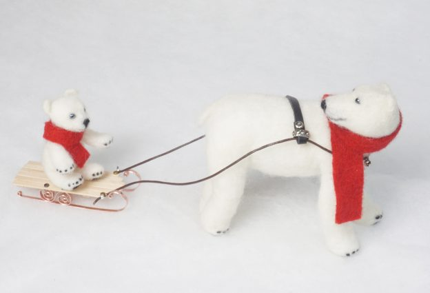 Winter Ride anthropomorphic needle felted art doll sculpture