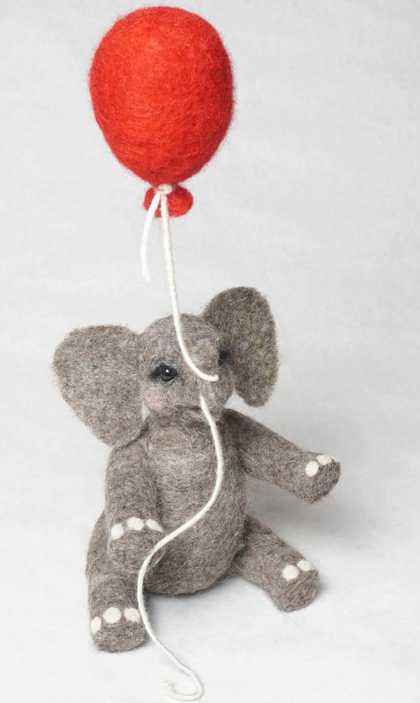 Looking Up, anthropomorphic elephant sculpture art doll, needle felted wool