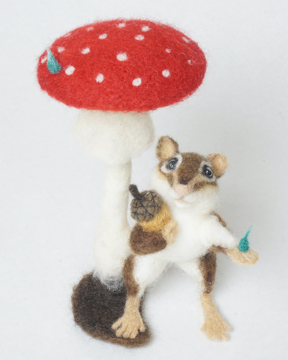 Sheltered Harvest - anthropomorphic needle felted chipmunk sheltering acorn under a toadstool