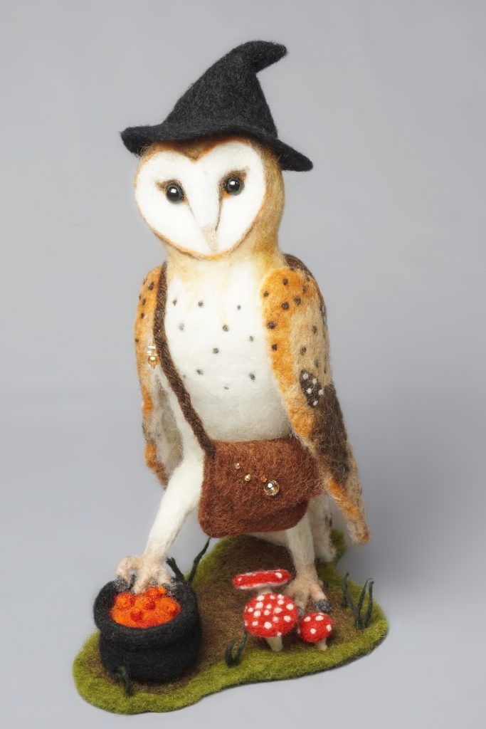 Anthropomorphic owl art doll sculpture. Needle felted wool, one-of-a-kind artist original