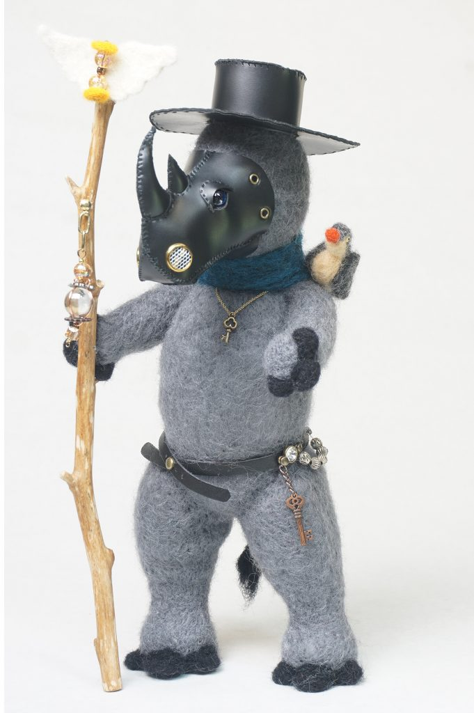 Plague Doctor - anthropomorphic rhinoceros sculpture w/plague mask, staff, and oxpecker assistant. needle felted