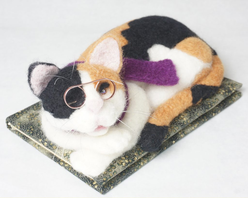 Journal Cat - needle felted wool and mixed media anthropomorphic cat sculpture
